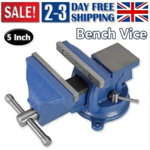 "UK Heavy Duty 5"" Work Bench Vice Engineer Jaw Swivel Base Vise Clamp Metal Tools"