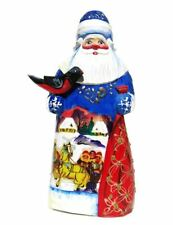 Russian Troyka Handmade and Hand-Painted Carved Wooden Santa - Blue
