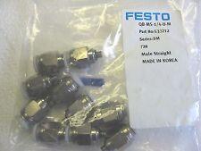 Lot of 10) Festo QB-M5-1/4-U-M Sraight Adapters M5 x 1/4