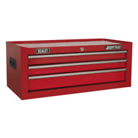 AP223 Sealey Mid-Box 3 Drawer with Ball Bearing Slides - Red Tool Chests
