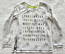 Kind Is Cool Girl's M Long Sleeve T Shirt Friends White Stars Raw Edge Side Zip