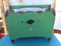 Farmhouse Shabby Cottage Caddy Wood Magazine Rack hand painted Vintage Country