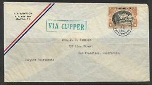1940 Philippines Clipper Airmail cover Manila to San Francisco Cal. USA