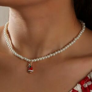 Christmas Chocker Pearl Necklace Women Jewelry Korean Style Clavicle Chain