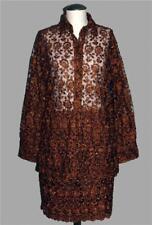 VTG Heavily Beaded Crocheted Floral Copper Brown Sheer Top & Skirt Wms M? EXC