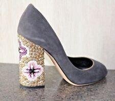 NIB Dolce & Gabbana Grey Suede Gold Leather Open Toe Jeweled Heel Pumps Shoe 39