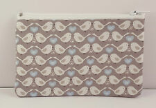 Gorgeous Grey Birds Fabric Handmade Zippy Coin Purse Storage Pouch