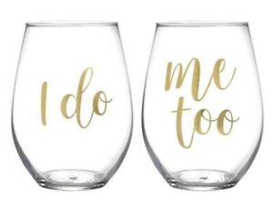 "Wedding Wine Goblets Stemless Novelty Plastic ""I Do"" ""Me Too"" Bride Groom Gift"