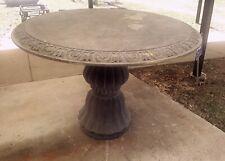 "Gray Marble Round 47"" Diameter Pedestal Table Patio Entryway Foyer Center Table"