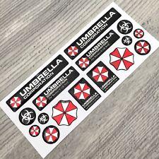Umbrella Corporation Resident Evil chrome 3d domed emblem decal stickers 16pcs