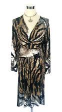 LEONA EDMISTON Wrap Dress - Vintage Animal Tiger Print Stretch Tie Belt - 14/L