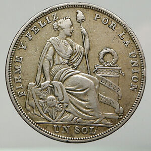 1923 PERU South America 1 SOL Antique BIG Original Silver Peruvian Coin i92868