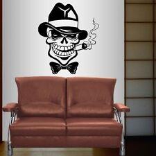 Vinyl Decal Gangster Skull Hat Cigar Retro Criminals Boys Room Wall Sticker 2394