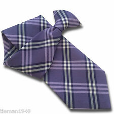 Purple Navy and White Checked Mens Silk Clip On Tie
