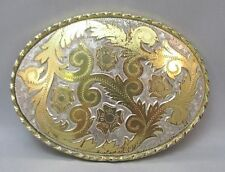 LADIES 2-TONE BELT BUCKLE MADE IN USA & PRETTY ETCHED FLOWERS DESIGN MARKED W **
