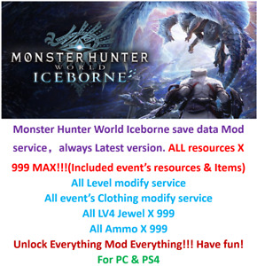 Monster Hunter World Iceborne save data mod service, Unlock All! Everything MAX!