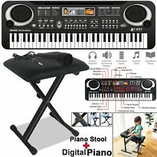 More details for digital electronic piano keyboard 61 keys with black piano stool & microphone uk