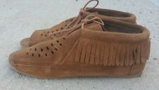 Minnetonka Brown Suede Peep Toe Lace Up Moccasin Flat Ankle Bootie Women's Sz 9