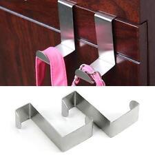 2 Pcs Over Door Hook Stainless Steel Reversible Drawer Desk Holder Hanger Office