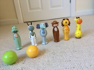 Orange Tree Safari Wooden Animal Skittles