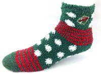 Minnesota Wild NHL For Bare Feet Homegator Black Fuzzy Socks