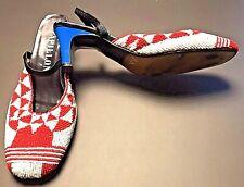 Papillon Red White Vintage Retro Slingback Beaded Cuban Heel Shoes Size 7.5
