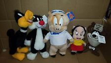 Vintage Looney Toons Plush Toy Daffy, Sylvester, Porky, Petunia and Taz
