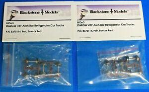 "Lot of 2 - BLACKSTONE HOn3 - B370114 D&RGW 4'8"" Arch Bar Refrigerator Car Trucks"