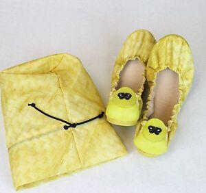 $680 Bottega Veneta Yellow Nylon Intrecclolusion Ballet Flat 38/US 8 307913 9441