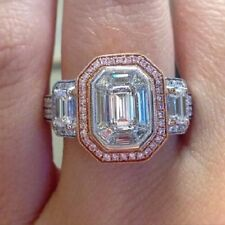 4.30 Ct Emerald Cut Moissanite Engagement Valentine Ring 925 Sterling Silver