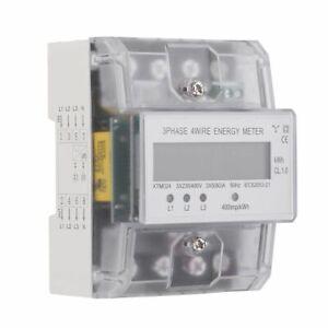 80 A 3x230//400V LCD Drehstromzähler Energie-Stromzähler für DIN Hutschiene DE 5