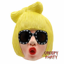Lady Gaga Latex Mask Women Deluxe Costume Mask Halloween Masquerade