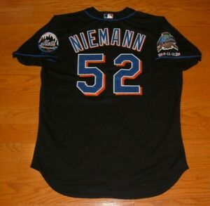 NEW YORK METS RANDY NIEMANN GAME USED WORN JERSEY WITH 9-11 and 2002 ANNIV PATCH
