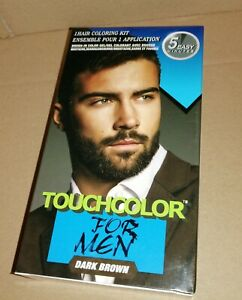 touch up Colour Dye for men Gel Moustache and Beard Natural Dark Brown + brush