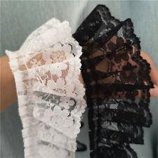 "2Yards White Black Lace Pleated Trims Vintage Ribbon Skirt's Hemline 2.16"" Width"