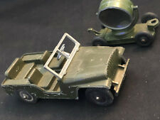 Vtg Collectible Tootsie Toy Made In USA Army Jeep Green with Spot Light Trailer