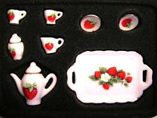 Tea Set Strawberry Design, Dolls House Miniature Tableware, Kitchen 1.12 Scale