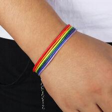 Rainbow Lesbian LGBT Pride Gay Woven Braided Rope Strand Friendship Bracelet