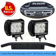 Bull Bar Front Bumper License Plate Mounting Bracket+4''18W FlOOD LED Work Light