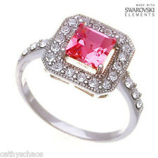 Swarovski 6mm Square Princess Cut Crystal .925 silver Ring Pink Ice Mother's Day