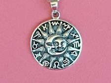 925 Sterling Silver 12 Zodiac Horoscope Symbol Sun Moon Pendant ONLY