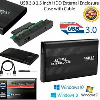 Usb 3.0 2.5 Inch HDD SATA External Hard Drive Enclosure Case Cable Windows 10
