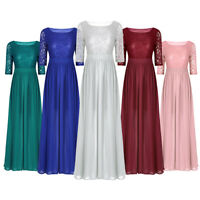 Womens Lace Long Bridesmaid Dress Formal Wedding Party Chiffon Dresses Cocktail