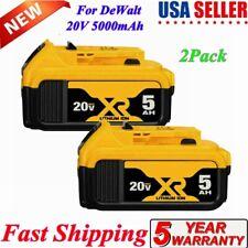 2Pack For DeWalt 20V 20 Volt Max XR 5.0AH Battery Replace DCB206-2 DCB205-2 US