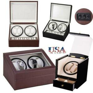 Automatic Rotation Watch Winder Wristwatch Storage Box Display Case Leather/Wood