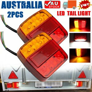 2X LED Square Tail light 12V trailer truck number taillight STOP/BRAKE lights AU