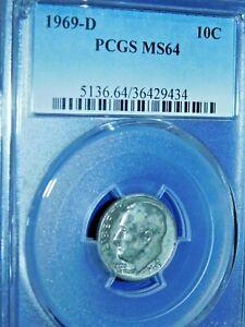 1969-D 10C Roosevelt Dime-PCGS #5136 Grade MS64--471-1