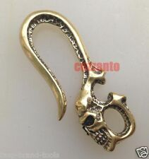 Solid Brass DIY Key Chain Classical Skull for Fob Ring Wallet chain hook clip