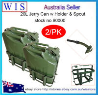 2/PK 20L Gas Jerry Can Fuel Steel Tank Military GRN w Pouring Spout & Holder