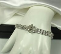 "ART DECO BUCKLE Bracelet 1920s STERLING 6.75"" Long DIAMOND PASTE Brilliants Fab!"